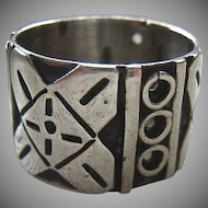 Vintage Sterling Silver 925 Wide Band Ring Eagle Mark 3