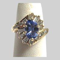 Stunning 14K Gold Tanzanite Diamond Ring Exquisite Signed EREV Harold Freeman