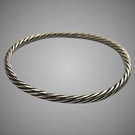 Sterling Silver 925 Bangle Bracelet Twist Design Substantial 20.8 Grams