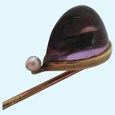 14K Gold Amethyst Pearl Stick Pin Amazing Gemstone