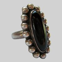 Sterling Silver 925 Black Onyx Large Oval Ring