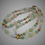 Multi-Color Pastel Quartz and Gold Filled Fluted Bead Necklace Filigree Clasp