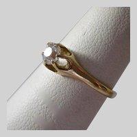 12K Old Mine Cut Diamond Ring .33 Estimated TCW Belcher Setting 1850-1890