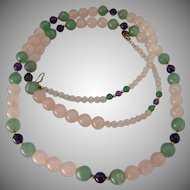 Multi-Color Quartz Gemstone Bead Necklace Filigree Clasp 30 Inches