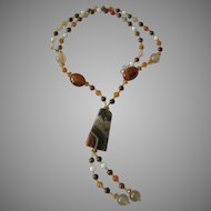 Earth Tone Gemstone Necklace with Tassel