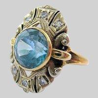 Stunning Vintage 14K Gold Blue Topaz Diamond Ring