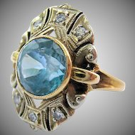 Stunning Vintage 14K Gold Blue Topaz Diamond Ring