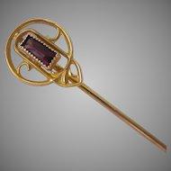 10K Gold Amethyst Paste Stick Pin Art Nouveau Deco Transitional