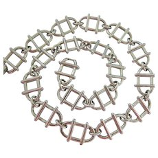 Monet Silver Tone Choker Necklace Interesting Modernist Design