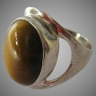Sterling Silver 925 Tiger Eye Ring Large Presentation