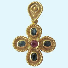 Exquisite 18K Gold Ruby Sapphire Cross Pendant