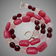 Pink & Clear Gemstone Necklace Sterling Toggle Clasp