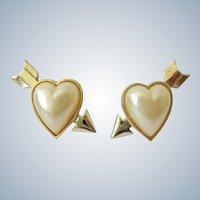 Arrow through Heart Faux Pearl Novelty Clip Earrings