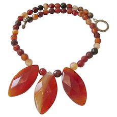 Earthy Agate Gemstone Bead Necklace with Glass Fringe Components