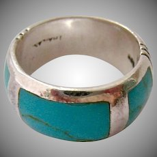 Sterling Silver 925 Turquoise Colored Inlay Band Ring