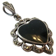 Sterling Silver 925 Marcasite and Black Onyx Heart Pendant