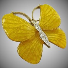 Carolee Yellow Enamel Butterfly Pin Brooch with Clear Rhinestones