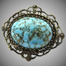 Vintage Turquoise Art Glass and Silver Tone Filigree Brooch C-Catch