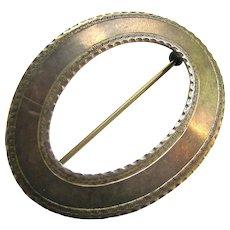 Large Sterling Silver 925  Oval Buckle Design Brooch