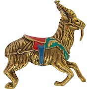 Exotic Animal Pin with Enamel Saddle Museum Replica Signed SI