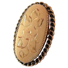 12K Gold Filled Oval Etched Pin Brooch