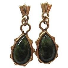 14K Gold and Green Gemstone Dangle Post Earrings Likely Nephrite Jade - Red Tag Sale Item
