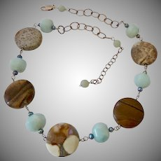 Sterling Silver 925 and Blue and Tan Gemstone and Black Pearl Necklace