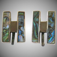 """Mexico Silver Pre-Eagle Abalone """"H"""" Earrings Screw Back"""