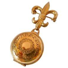 Vintage Gold Tone Fleur de Lis Pin with Photo Locket Dangle