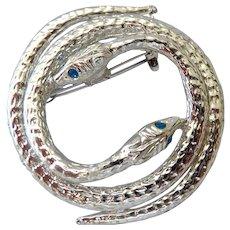 Silver Tone Double Snake Brooch Pin Blue Eyes