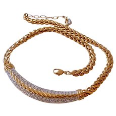 Swarovski Choker Necklace Gold Tone and Clear Crystals Swan Signed