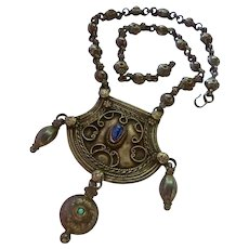Exceptional Silver Tribal Ethnic Necklace Probably Mid Eastern with Lapis and Turquoise Accents