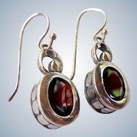 Sterling Silver 925 Garnet Dangle Earrings