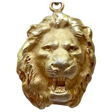 14K Gold Filled 3-D Roaring Lion Head Pendant Necklace