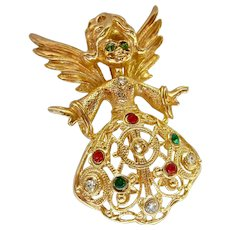 Gold Tone Angel Pin Brooch Red Green Clear Rhinestones Signed Avante