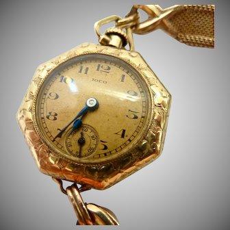 Vintage IOCO 14K Gold Filled Pocket Watch 15 Jewels on 10K GF Band Bracelet