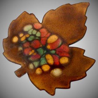 Enamel on Metal Colorful Autumn Leaf Pin Brooch