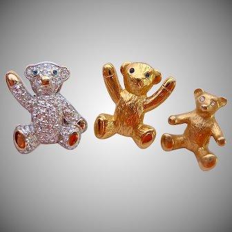 Carolee Trio of Bear Pin Backs Family of Bears