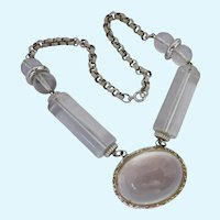 KJL Kenneth J Lane Clear Lucite Jelly Belly Silver Tone Necklace