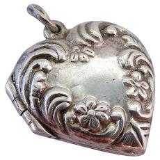 Sterling Silver 925 Repousse Heart Locket Pendant