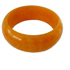 Wide Chunky Yellow/Orange Early Plastic Bangle Bracelet