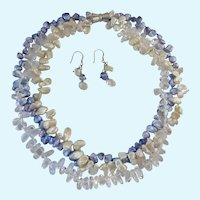 Keshi Pearl and  Rock Crystal 3-Strand Necklace Earring Set