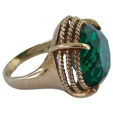Huge 10K Gold Emerald Green Paste Stone 10.2 Grams