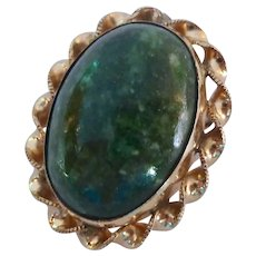 12K Gold Filled Oval Green Stone Pin Brooch Pendant Signed