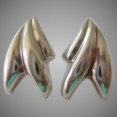 Sterling Silver 925 Abstract Puffy Post Earrings