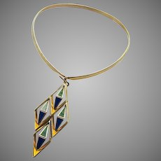 Mid Century Modern Gold Tone Enamel Choker Necklace with 3-D Geometric Pendant