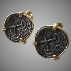 14K Gold Replica Ancient Coin Post Earrings