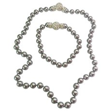 Nolan Miller Silver Gray Simulated Pearl Necklace Bracelet Set Crystal Snap Clasps