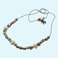 Multi-Medium Necklace Sterling Silver, 14K Gold and Cultured Pearls