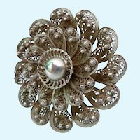 Silver Cannetille Layered Flower Brooch